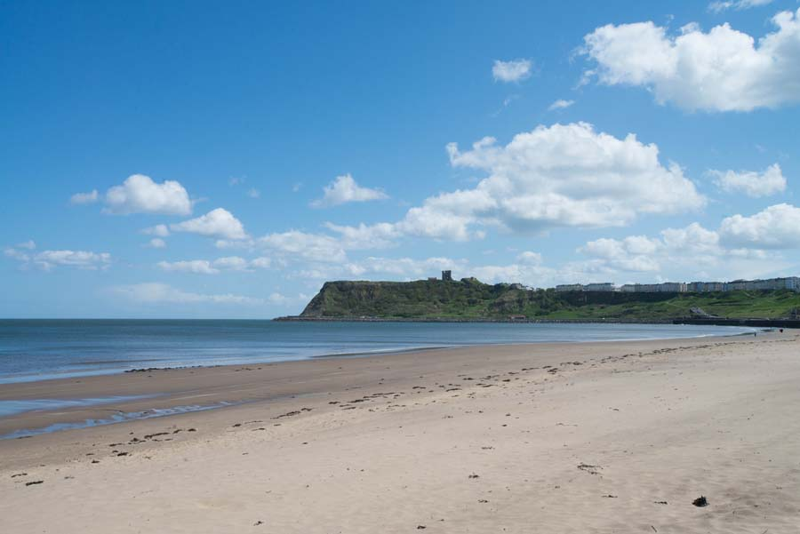 View of Scarborough Castle from the beach by Richard Aspinall