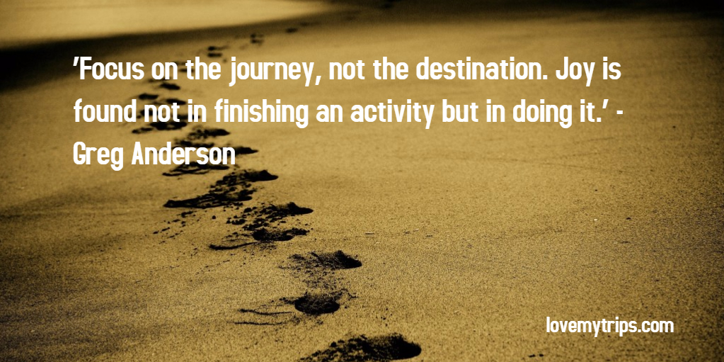 'Focus on the journey, not the destination. Joy is found not in finishing an activity but in doing it.' - Greg Anderson