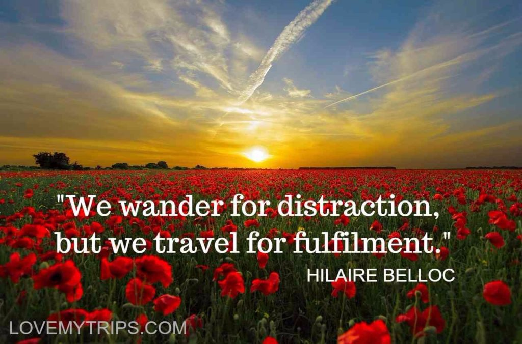 we wander for distraction but we travel for fulfilment